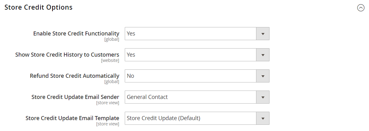 Store Credit Options